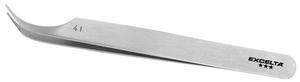 Excleta 41 4.5inch Curved Carbon Steel Tweezer With Two Grooves in Tip