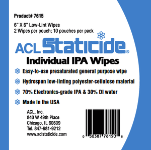 ACL 7615 Individual Isopropil Alcohol (IPA) Wipes 6X6 Low Lint
