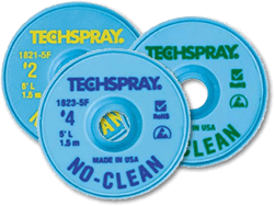 Techspray 1822-100F No Clean Desolder Braid - 100\' #3 Green