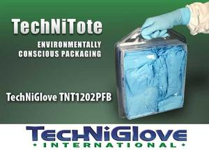 TechNiGlove TNT1202PFB Bulk TechNiTote Medium Blue Nitrile Gloves